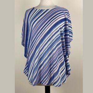 Susan Graver Striped Sweater Knit Scarf Top